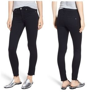 Rag & Bone Black Raw Hem Skinny Ankle Jeans